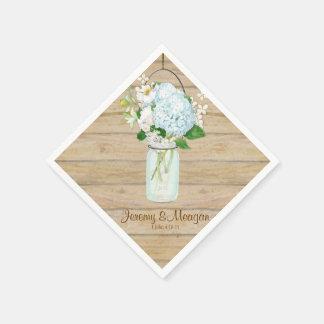 El tarro de albañil rústico del país florece los servilleta de papel