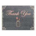 El tarro de albañil rústico le agradece las tarjetas postales