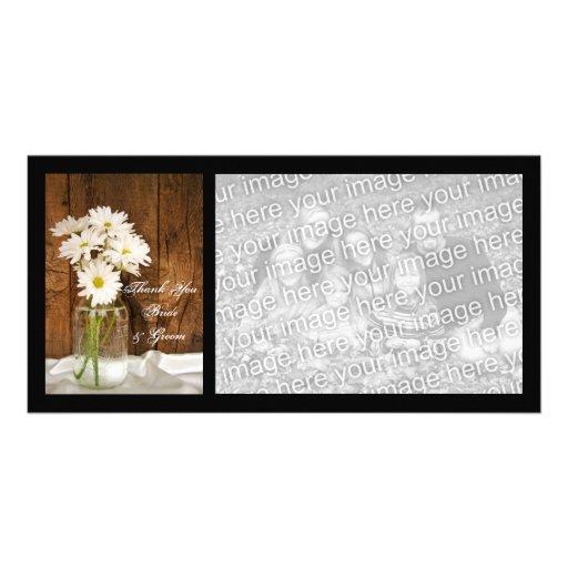El tarro de albañil y el boda del país de las marg tarjeta fotografica personalizada