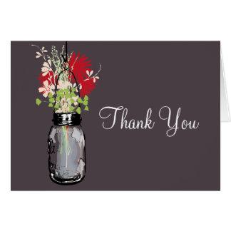 El tarro de albañil y los Wildflowers le agradecen Tarjeta Pequeña