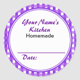 El tarro de encargo púrpura etiqueta alrededor de