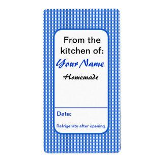 El tarro personalizado del atasco etiqueta el azul etiqueta de envío