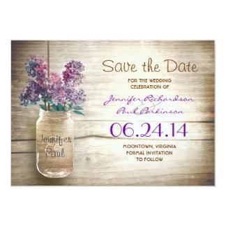 el tarro y las lilas de albañil ahorran la fecha invitación 12,7 x 17,8 cm