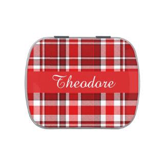 El tartán blanco rojo el | de la tela escocesa frascos de dulces