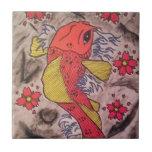 El tatuaje inspiró los pescados de Koi Azulejos Ceramicos