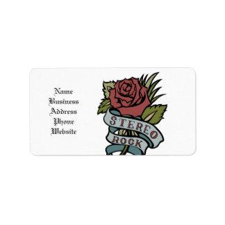 """El tatuaje precioso florece rojo y verde de la """" etiqueta de dirección"""