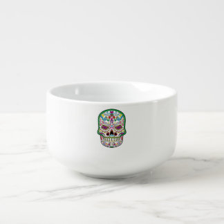 El tatuaje verde florece los cráneos del azúcar bol para sopa