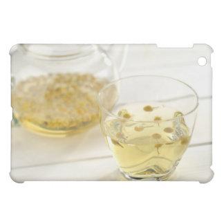 El té de hierba que una tetera de cristal y una ta