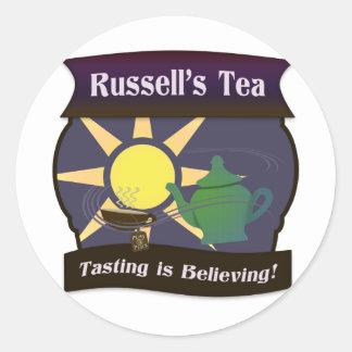 El té de Russell Pegatina Redonda