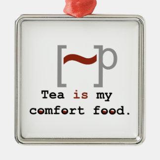 El té es mi comida de la comodidad adorno navideño cuadrado de metal