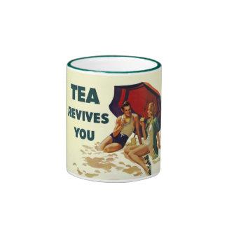 El té le restablece taza de dos colores