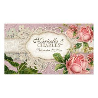 El té moderno del cordón del vintage manchó rosas plantillas de tarjeta de negocio