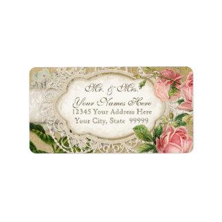 El té moderno del cordón del vintage manchó rosas etiqueta de dirección