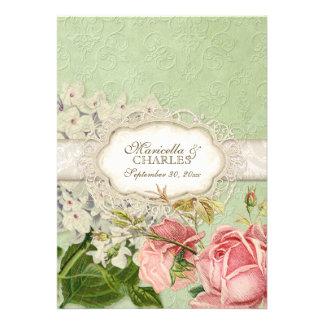 El té moderno del cordón del vintage manchó rosas comunicado personalizado