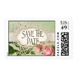 El té moderno del cordón del vintage manchó rosas sello postal
