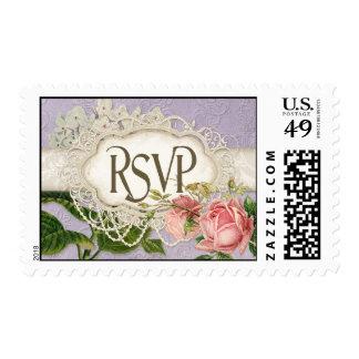 El té moderno del cordón del vintage manchó rosas sellos postales