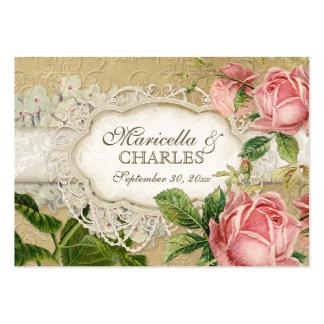 El té moderno del cordón del vintage manchó rosas tarjeta de visita