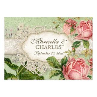 El té moderno del cordón del vintage manchó rosas  plantilla de tarjeta personal