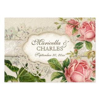 El té moderno del cordón del vintage manchó rosas  plantillas de tarjetas personales