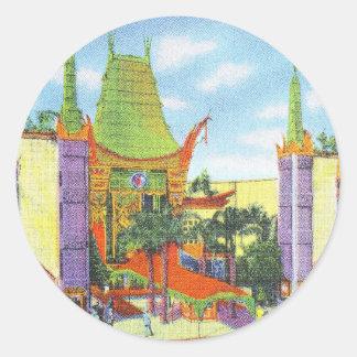 El teatro chino 1931 de Grauman del vintage Etiqueta Redonda