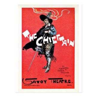 El teatro de la col rizada del vintage del cacique postales