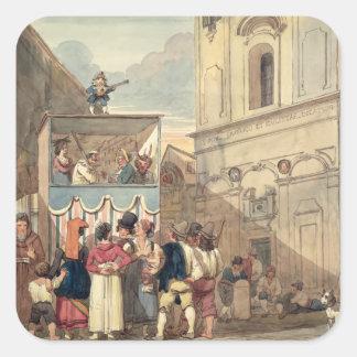El teatro de la marioneta calcomania cuadradas personalizada