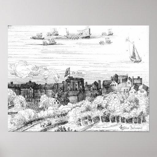 El teatro del cisne en el Bankside como él Poster
