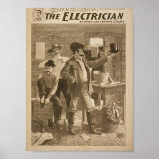 El teatro del vintage del electricista póster