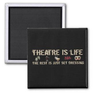 El teatro es vida imán cuadrado