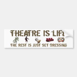 El teatro es vida pegatina para auto