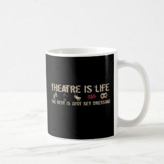 El teatro es vida taza básica blanca