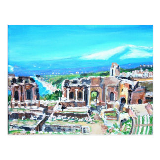 El teatro griego en la postal de Taormina