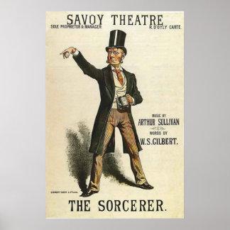 El teatro Londres 1884 de la col rizada del ~ del  Posters