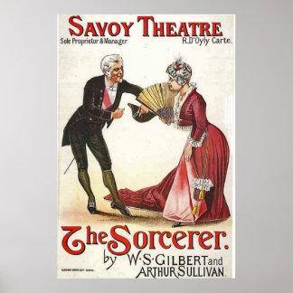 El teatro Londres 1884 de la col rizada del hechic Póster