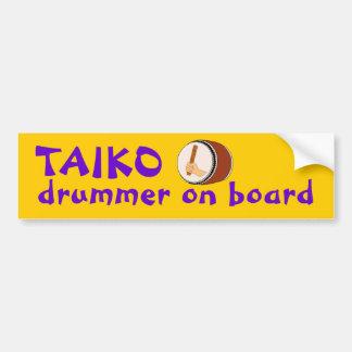 El teclear japonés del batería de Taiko a bordo Etiqueta De Parachoque