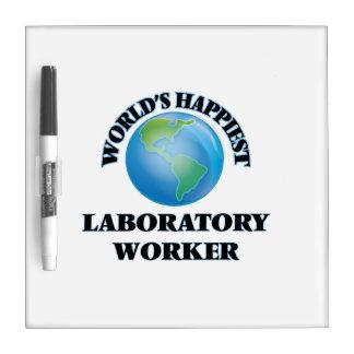 El técnico del laboratorio más feliz del mundo pizarras