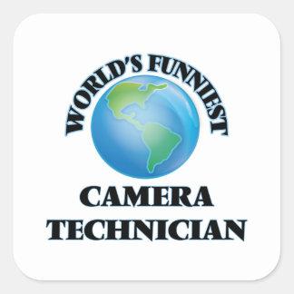 El técnico más divertido de la cámara del mundo calcomania cuadradas
