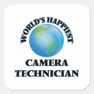 El técnico más feliz de la cámara del mundo pegatina cuadrada