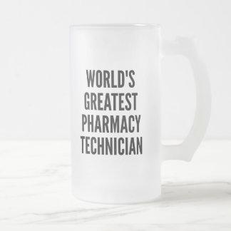 El técnico más grande de la farmacia de los mundos taza de cristal