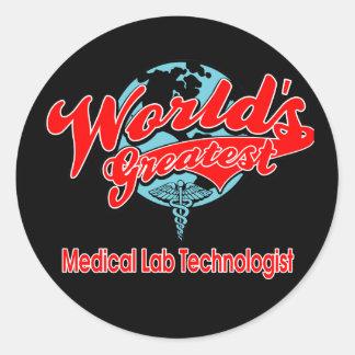 El tecnólogo más grande del laboratorio médico del pegatina redonda