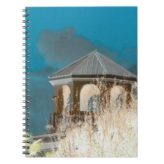 el tejado del chapitel invirtió el cielo y los libros de apuntes con espiral