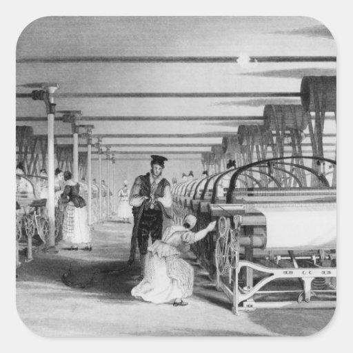 El tejer del telar de poder, grabado por J. Pegatina Cuadrada