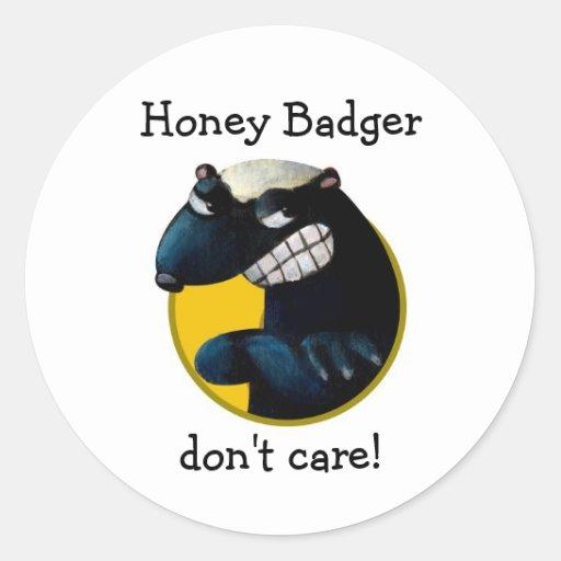 ¡El tejón de miel no cuida! Etiqueta Redonda