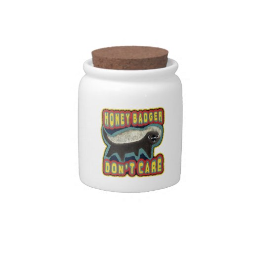 El tejón de miel no cuida jarra para caramelo