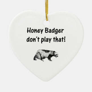 el tejón de miel no juega eso adorno navideño de cerámica en forma de corazón