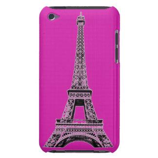 El teléfono fucsia de la torre Eiffel encajona y iPod Case-Mate Cárcasa