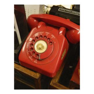 El teléfono rojo viejo membrete a diseño