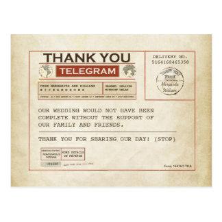 El telegrama le agradece las tarjetas por casarse postal