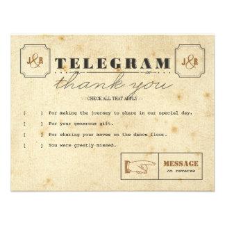 El telegrama le agradece tarjeta de nota invitaciones personales