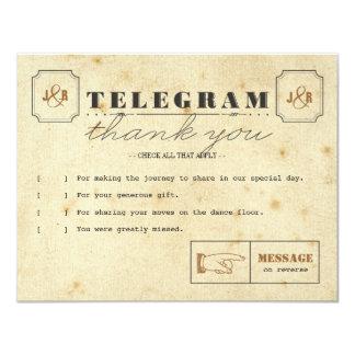 """El telegrama le agradece tarjeta de nota invitación 4.25"""" x 5.5"""""""